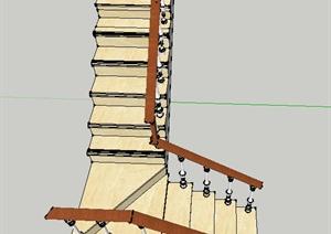 现代某室内建筑节点折叠楼梯设计SU(草图大师)模型