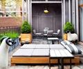 沙发床,花钵,动物雕塑,地面铺装,庭院景观