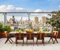 餐桌椅,地面铺装,玻璃栏杆,花钵,屋顶花园,庭院景观