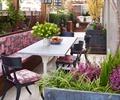 沙发,桌椅,花瓶插花,花钵,花灌木,庭院景观