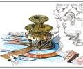 雕塑小品,木栈道,水池景观,台阶,船只,广场景观