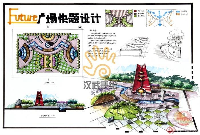 景观手绘快题模板-小品水池景观地面铺装园路