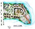 住宅景观规划,滨水景观,住宅景观,道路,植被,码头