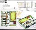 学校景观,运动场,学校建筑,道路,植被
