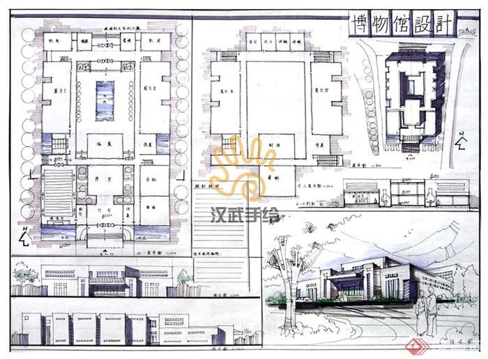 汉武手绘建筑快题作品-餐饮建筑餐厅餐馆食堂-设计师