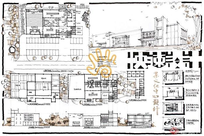 汉武手绘建筑快题作品-公交车站客运站交通码
