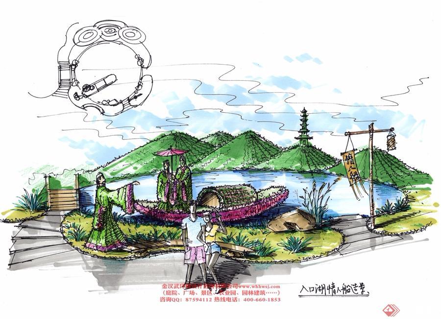 黄陂区花海乐园景观小品设计,包含六个区域:入口大门