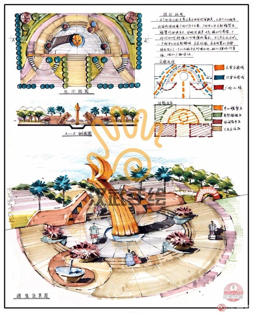 飞翔广场手绘快题