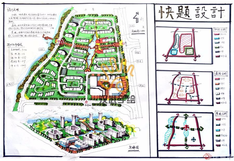 汉武手绘规划快题作品