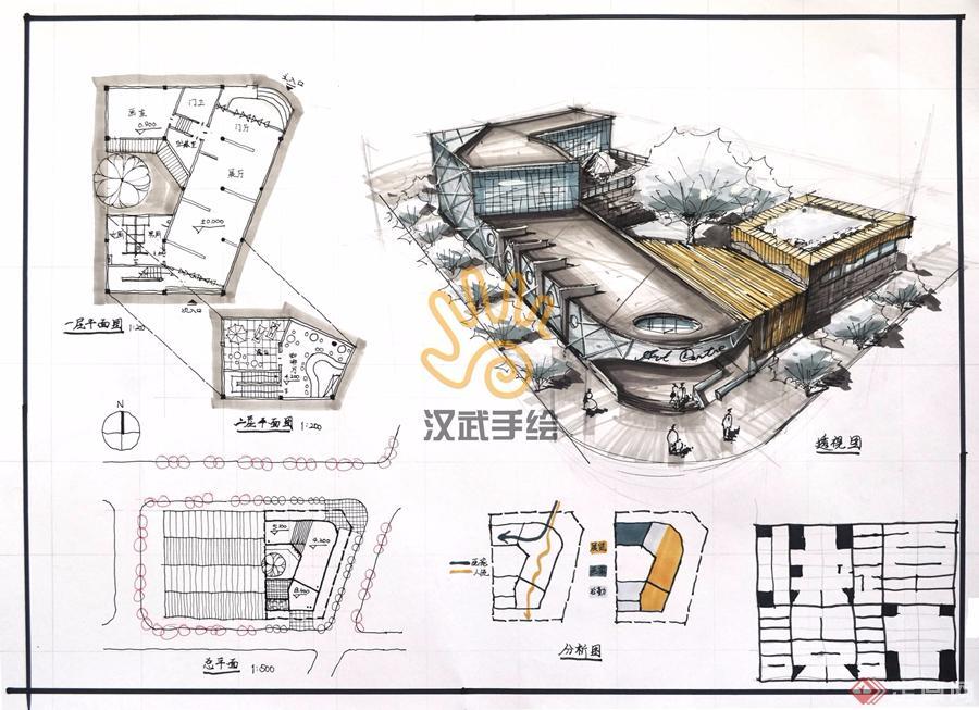 汉武手绘建筑快题学生作品002