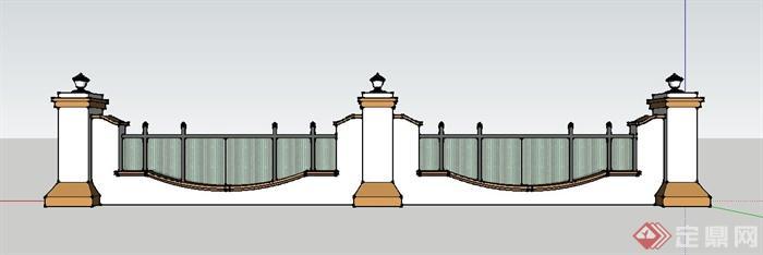 简约美式风格围墙设计su模型图片