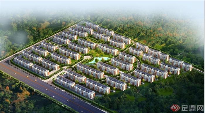 4张大型住宅小区规划设计鸟瞰图