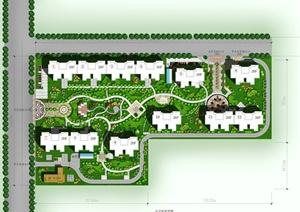 某多层联排住宅小区景观规划设计PSD彩平图-其他PSD园林景观设计