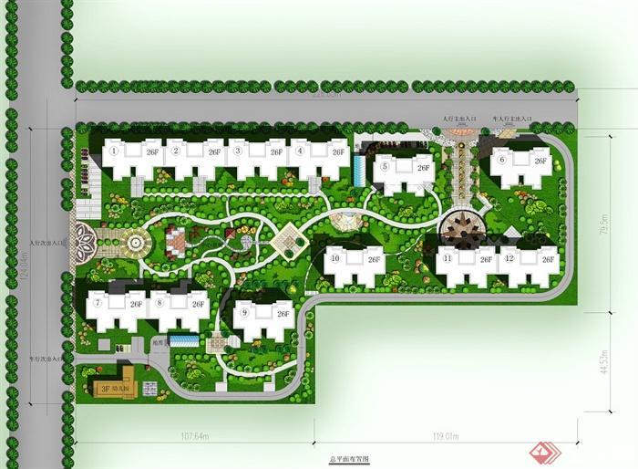 某多层联排住宅小区景观规划设计psd彩平图[原创]