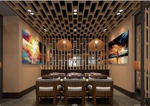 现代中式风格咖啡厅室内设计方案及效果图图片