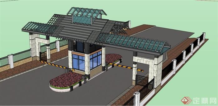 新中式风格小区大门设计su模型