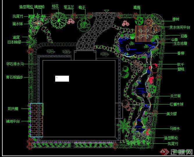 某私人别墅庭院绿化设计CAD总平面图图片