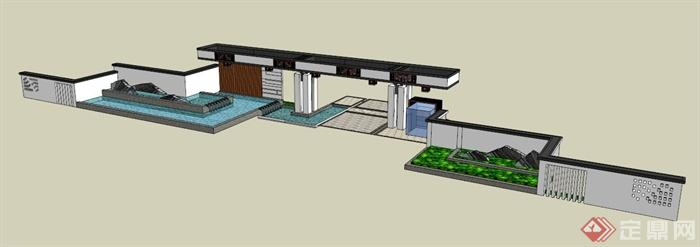现代简约中式风格入口大门设计su模型(1)图片