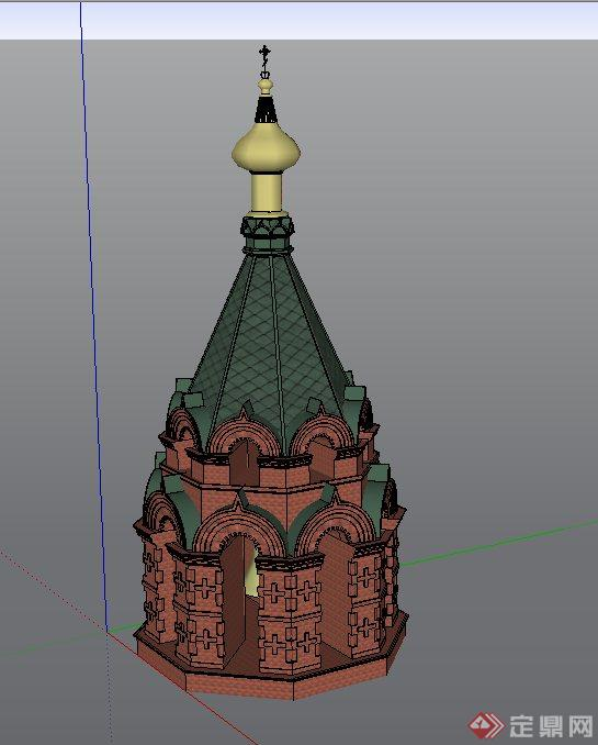 欧式风格塔楼建筑设计su模型