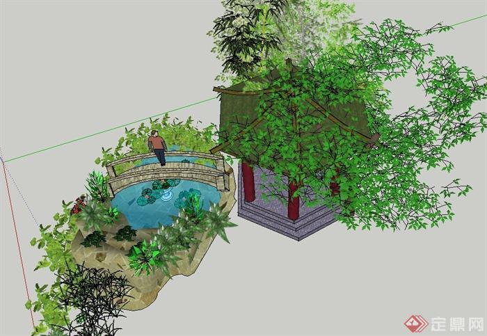 园林景观节点亭子,水池景观