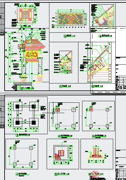 园林景观特色入口景观塔设计cad施工图
