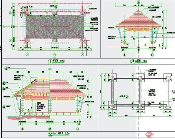 园林景观节点长方形亭子设计cad施工图