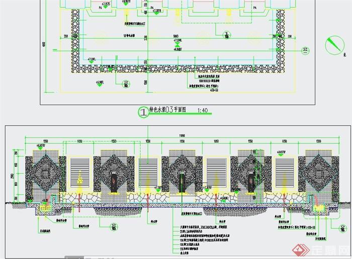 园林景观跌水景墙设计CAD施工图