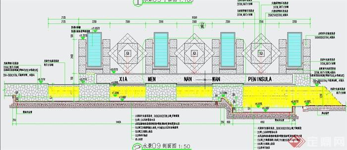 喷水墙剖面图、钢筋混凝土挡土墙结构图、单元大样详图等,具有一定
