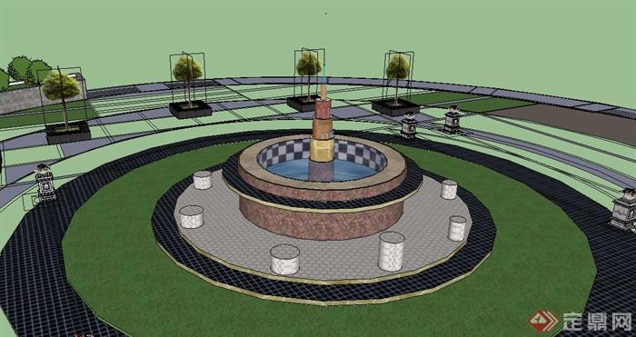 某圆形广场中心景观设计su模型