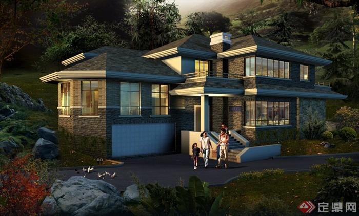 现代某两层山体别墅建筑设计psd效果图[原创]图片