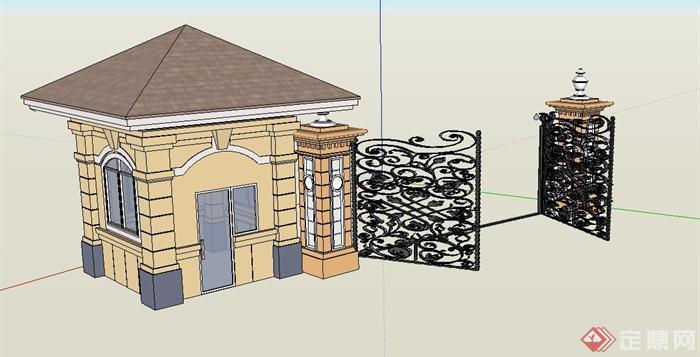 某入口欧式铁艺大门与门卫室设计su模型
