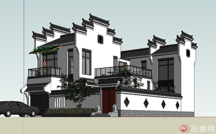 古典中式两层别墅住宅建筑设计su模型(3)