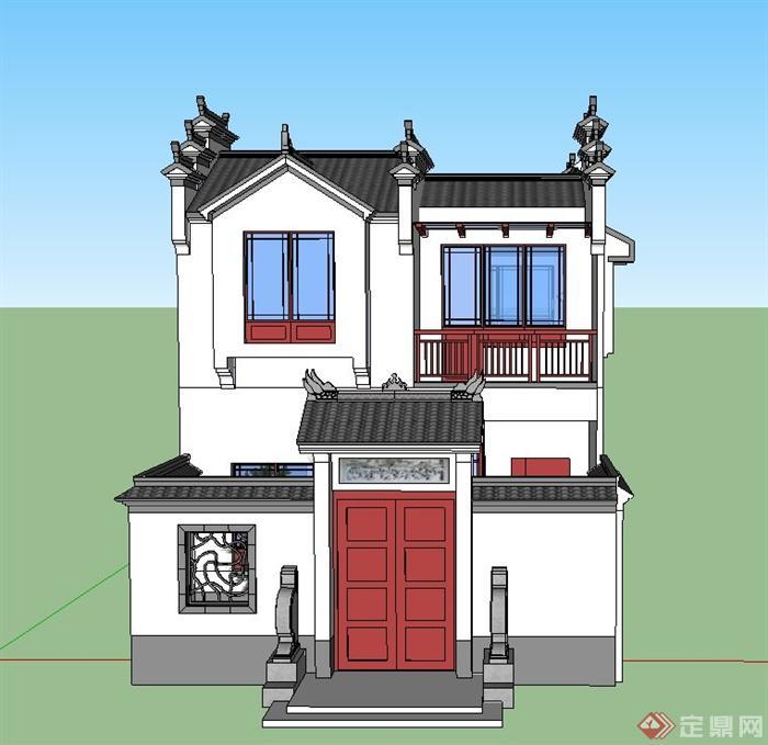 现代中式乡村建筑su模型[原创]