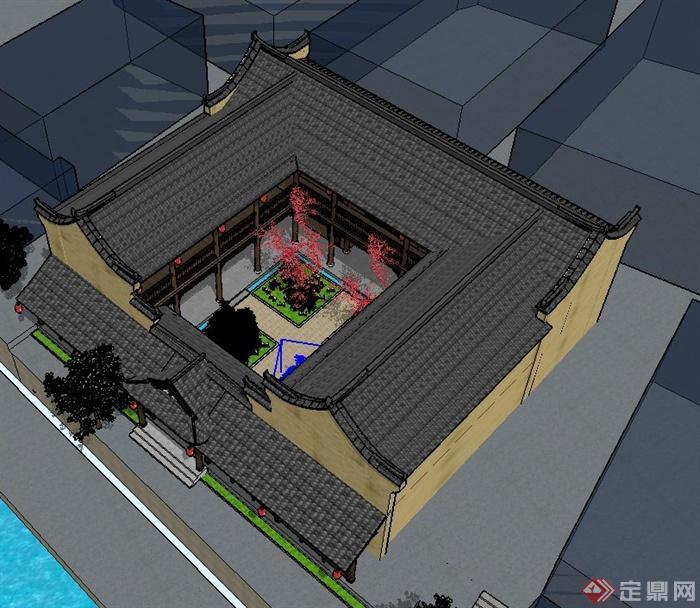 古典中式四合院住宅建筑设计su模型