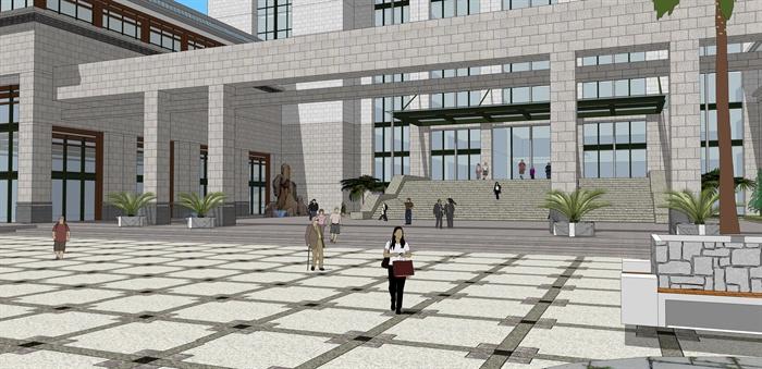 现代新中式侨联办公楼建筑设计su模型