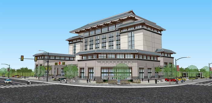 现代新中式侨联办公楼建筑设计su模型图片