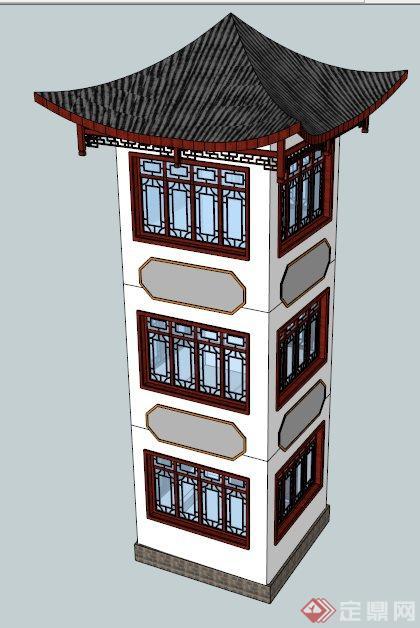 古典中式四角景观塔楼设计su模型(2)