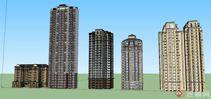 现代+简欧风格住宅楼建筑设计su模型(2)
