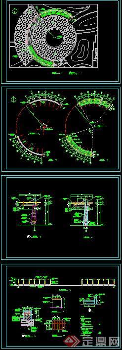 圆形花廊架设计cad施工图[原创]