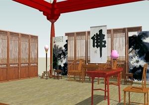 古典中式客厅SU(草图大师)模型