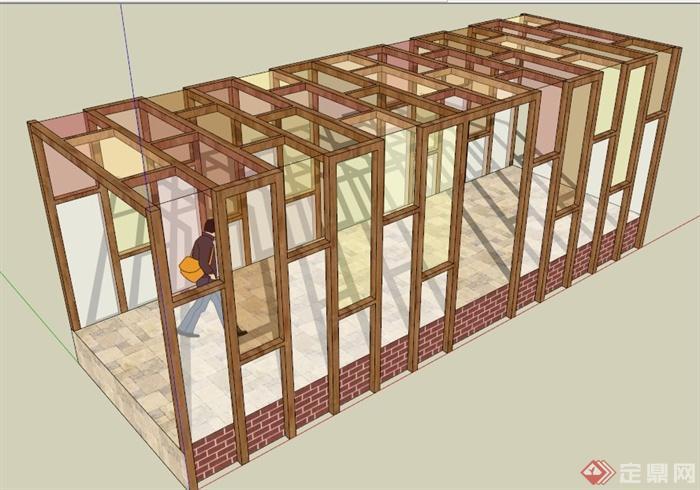 现代中式木格栅廊架设计su模型