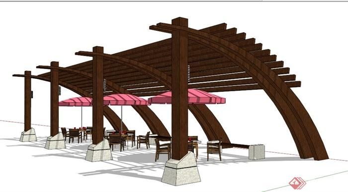 现代风格木制扇形休息廊架su模型
