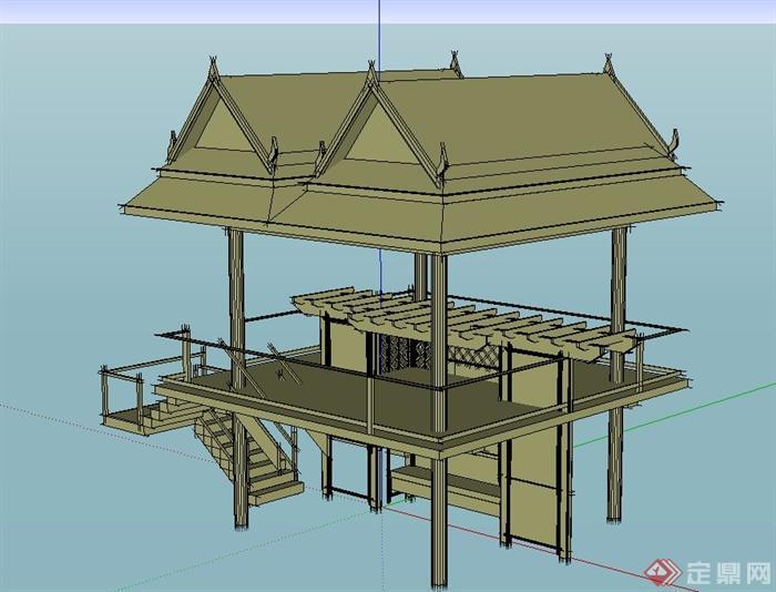 某园林景观节点木质两层凉亭设计su模型
