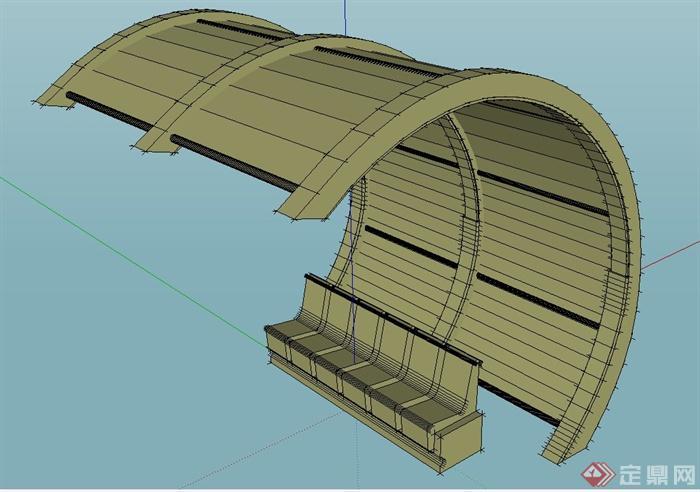 园林景观弧形廊架与坐凳设计su模型(1)