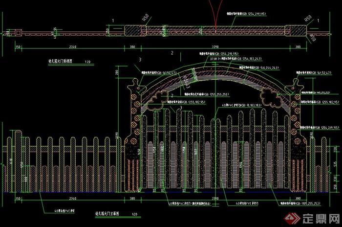 某长颈鹿幼儿园大门建筑设计cad结构施工图[原创]