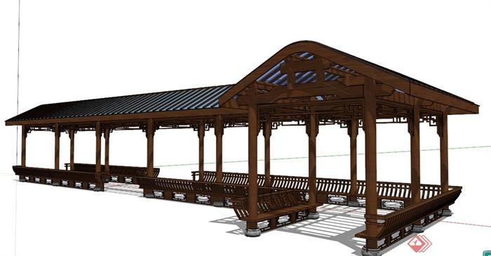 中式風格轉角景觀廊設計su模型(1)