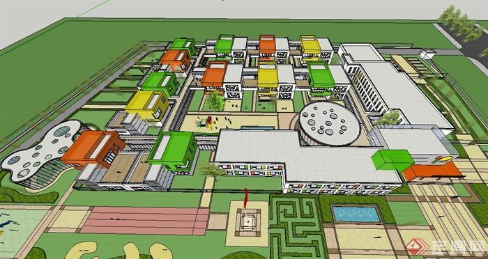 两款现代与欧式风格幼儿园建筑设计su模型[原创]