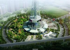 某明珠电视塔建筑设计JPG效果图
