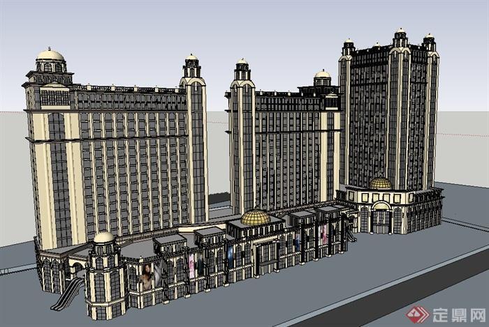 欧式风格商业街小高层建筑设计su模型[原创]