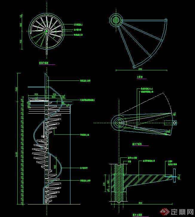 室内建筑节点旋转楼梯设计cad施工图